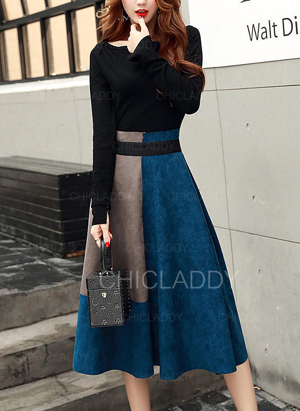 Color Block Long Sleeves A-line Skater Elegant Midi Dresses