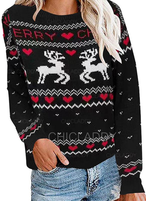 Animal Print Heart Round Neck Casual Christmas Ugly Christmas Sweater