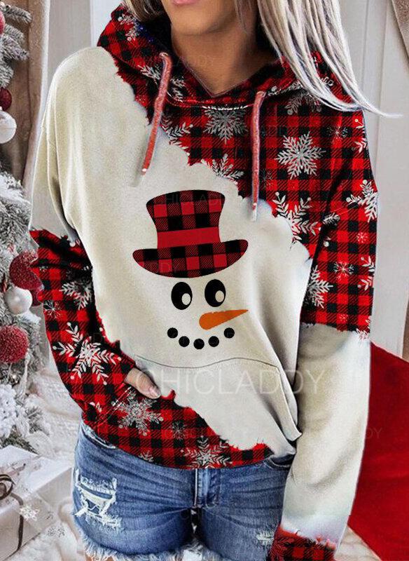 Nyomtatás rács Kapsy Dlouhé rukávy Vánoční mikina