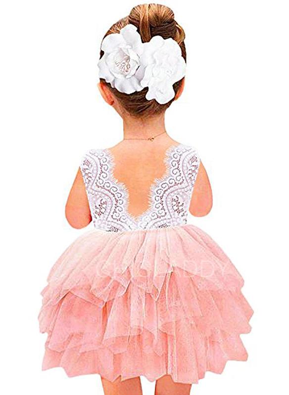 Chicas Cuello redondo Sólido Encaje Lindo Niña de las flores Vestido