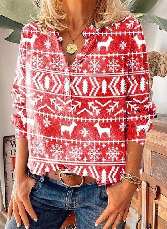 Stampato Animale Scollatura a V Maniche lunghe Bottone Natale Camicie