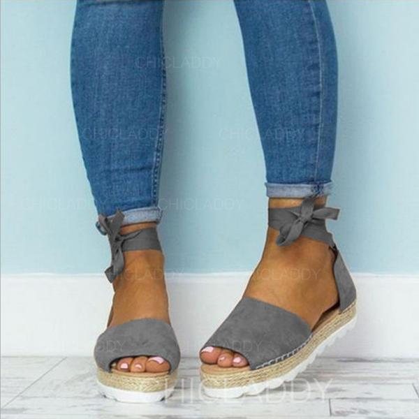 PU Tacón plano Sandalias Planos Encaje con Cordones zapatos