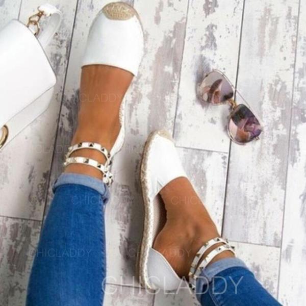 Mulheres Couro Salto baixo Sandálias com Rivet sapatos