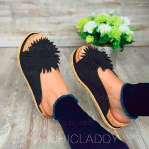 De mujer PU Tacón plano Sandalias Planos Encaje con Flor zapatos