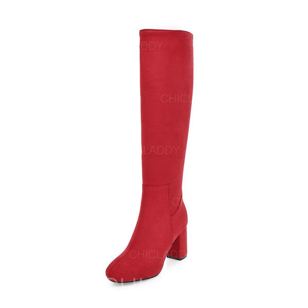 Pentru Femei Piele de Căprioară Toc gros Încălţăminte cu Toc Înalt Cizme până la genunchi cu Altele pantofi