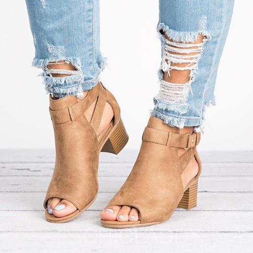 Bayanlar PU Tıknaz Topuk Ayak bileği çizmeler Ile Toka ayakkabı
