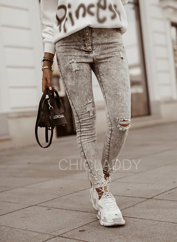 arricciato Strappata Elegante Sexy Vintage Denim & Jeans