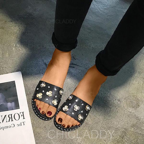 De mujer PVC Tacón plano Pantuflas con Rhinestone zapatos