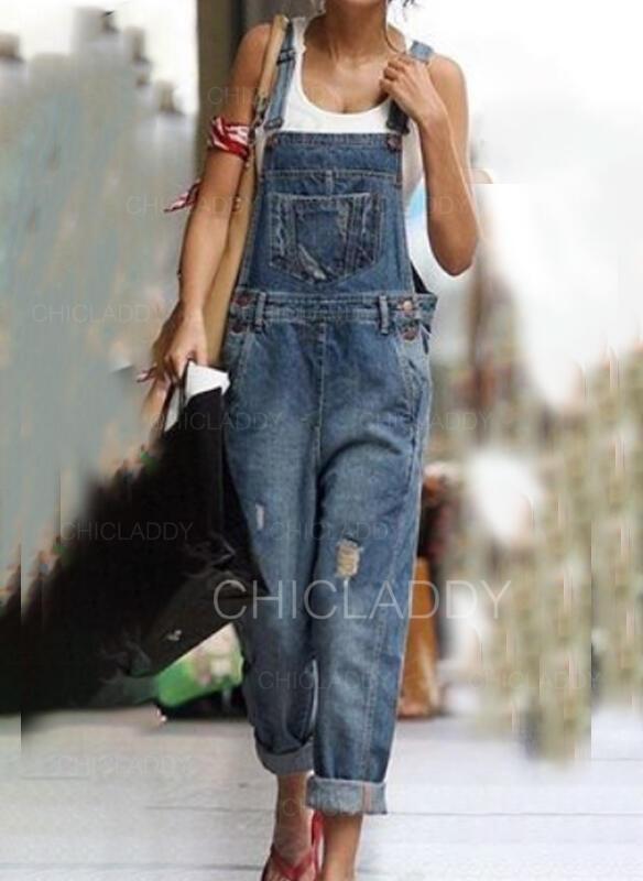 arricciato Taglia grossa Strappata Casuale Vintage Denim & Jeans Tute e pagliaccetti
