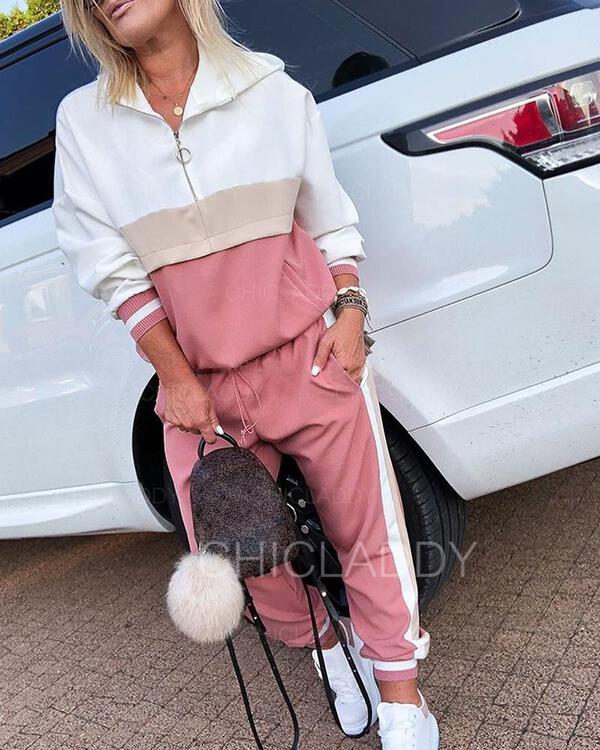 Capucha Manga Larga Bloque de color Con estilo Conjuntos de top y pantalones