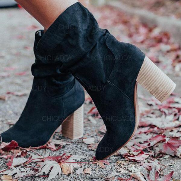 Donna Camoscio Tacco spesso Martin boots Punta rotonda con Animale Stampa Increspato scarpe