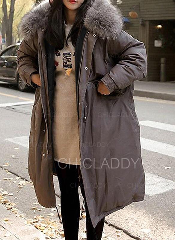 Polyester Faux Fur Long Sleeves Plain Blend Coats