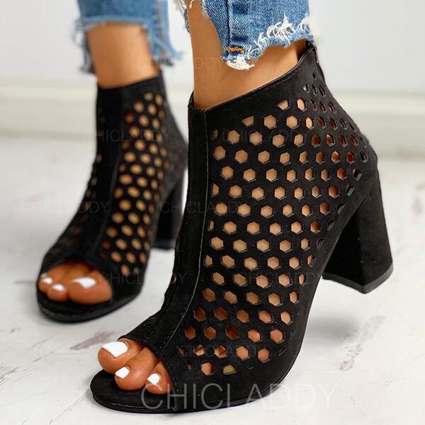 Καστόρι Χοντρό φτέρνα Γοβάκια Ανοιχτά σανδάλια toe Με Κουκούλα-έξω παπούτσια