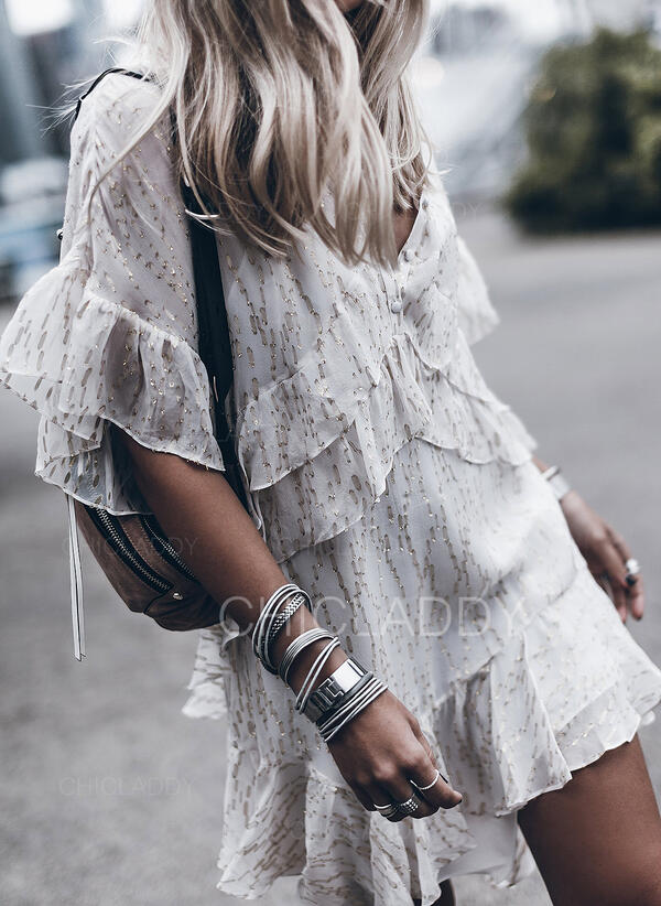 Sequins 1/2 Sleeves Shift Above Knee Casual/Vacation Dresses