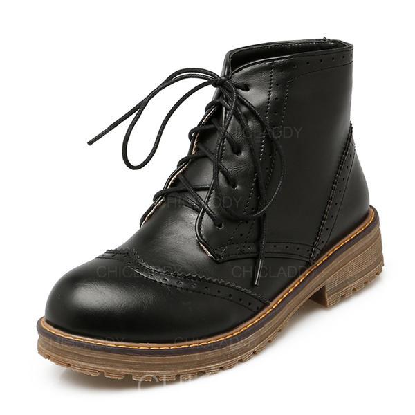 Pentru Femei PU Toc jos Cizme Botine Ghete Martin cu Lace-up pantofi