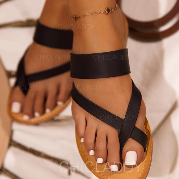 Dámské PU Nízký podpatek Sandály Pantofle Prst prst S Solid Color Kris Kros obuv