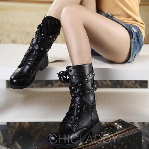 Kvinnor PU Låg Klack Stövlar med Spänne Bandage skor