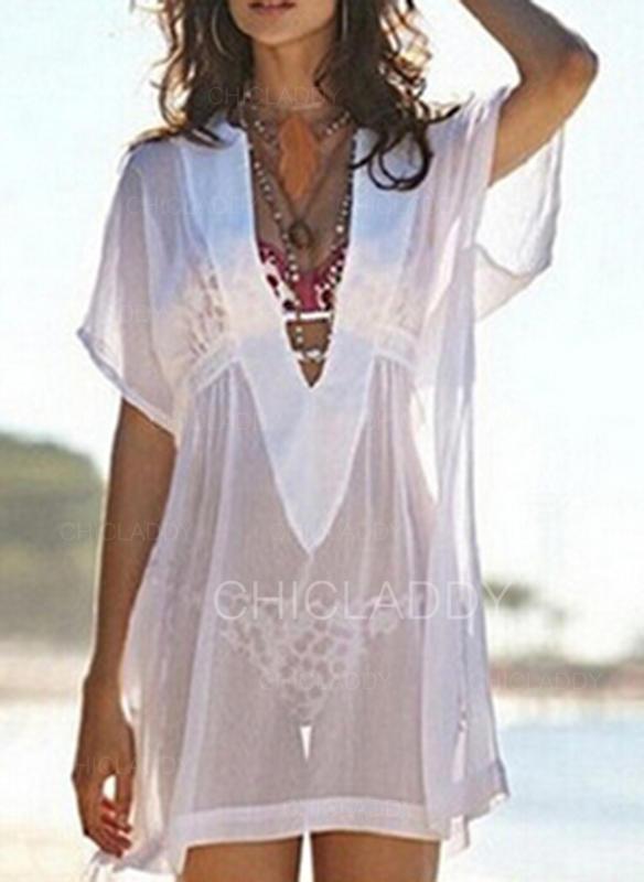 Enfärgad V-ringning Elegant Extra stor storlek Strandklänningar Badkläder