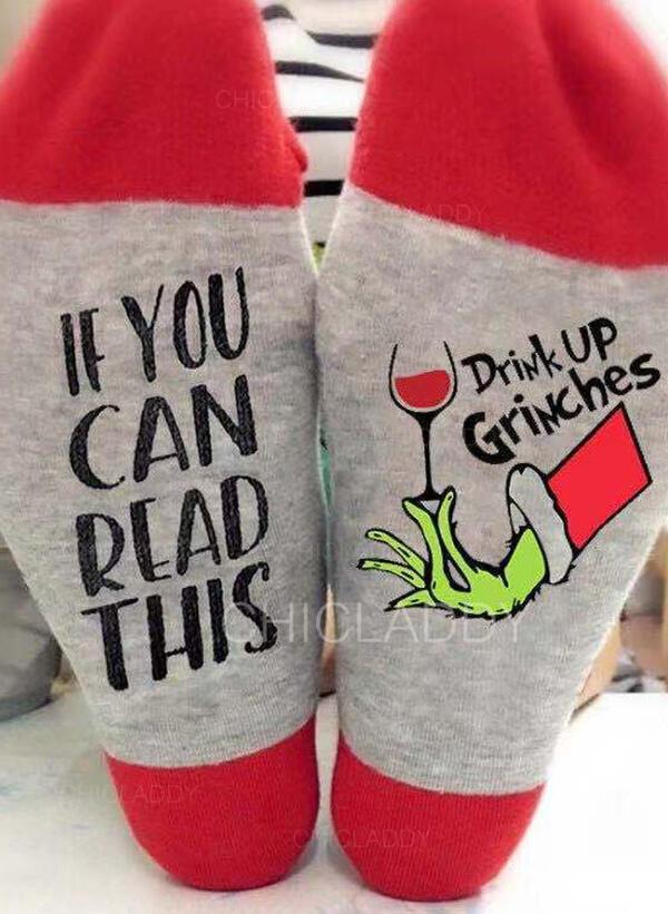 Dopis/Tisk Komfortní/Vánoce/Posádkové ponožky/Unisex Ponožky