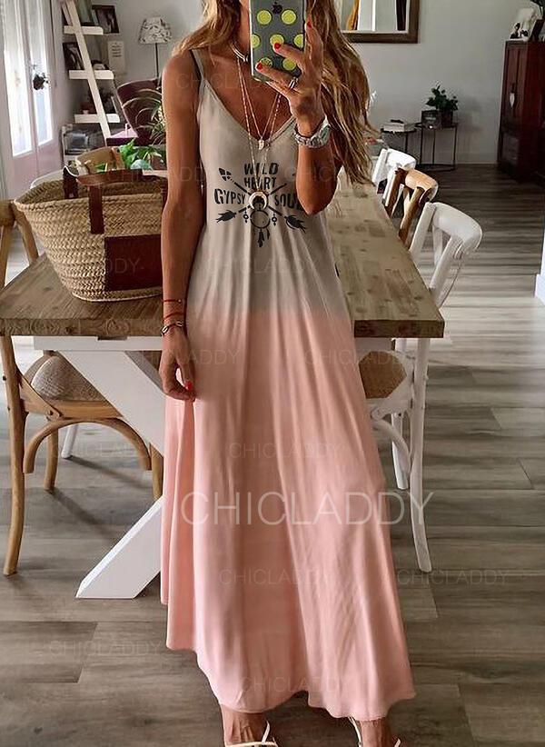 Print/Gradient Sleeveless A-line Slip Casual/Vacation Maxi Dresses