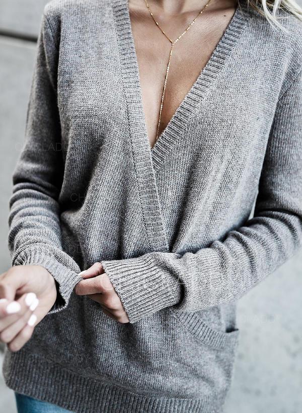 Sólido Cuello en V Casuales Suéteres
