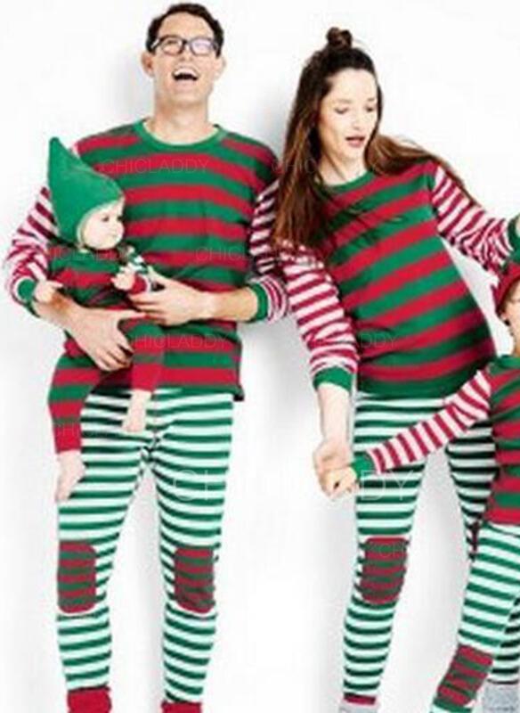 Rand Print Matchande familj Jul Pyjamas