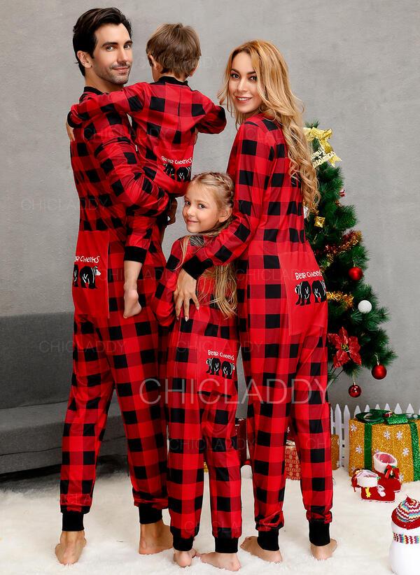 Tela Escocesa Carta Familia a juego Pijamas De Navidad