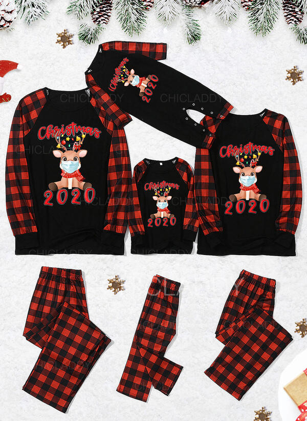 Renna Tartan Lettera Stampa Famiglia Partita Di Natale Pajamas