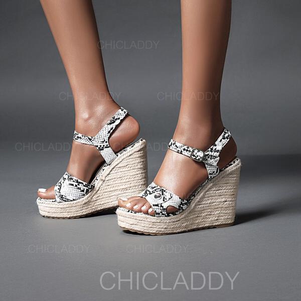 Γυναίκες PU Γωνία κλίσης Σανδάλια Σφήνες Με Πόρπη Αποτύπωμα ζώου παπούτσια