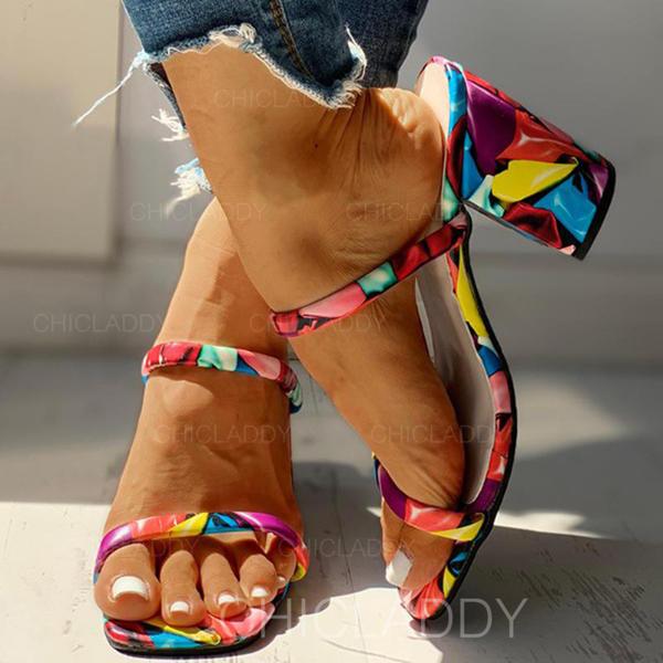 Bayanlar PU Tıknaz Topuk Sandalet Peep Toe Terlik Ile Hayvan baskı ayakkabı