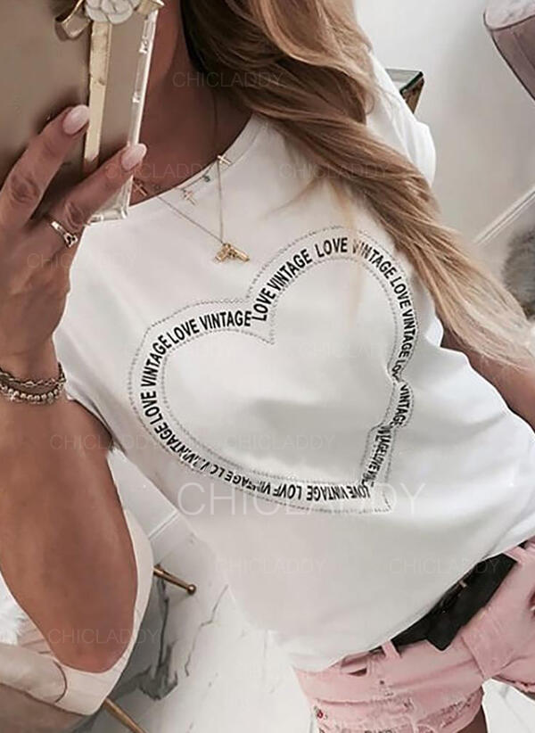 Nadruk Serce Na jedno ramię Krótkie rękawy Casual T-shirty