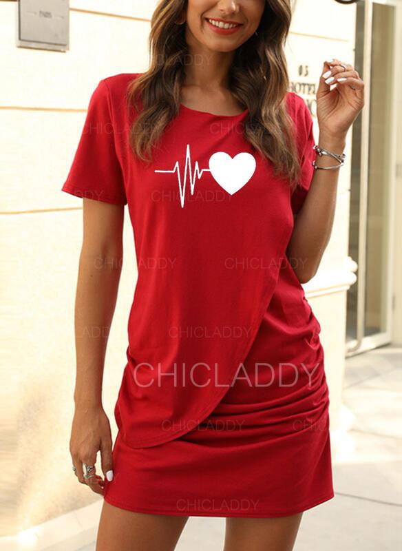 Print Short Sleeves Sheath Above Knee Casual T-shirt Dresses