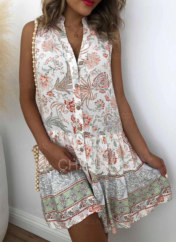 Impresión/Floral Sin mangas Tendencia Sobre la Rodilla Casual/Bohemio/Vacaciones Camisa Vestidos