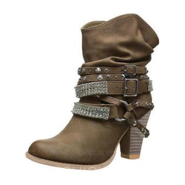 Mulheres Couro Salto robusto Bombas Botas com Fivela sapatos