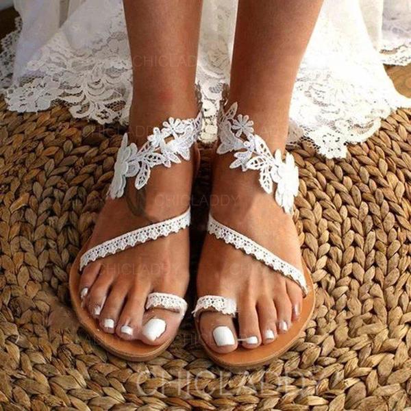 Women's Microfiber Leather Flat Heel Sandals Flats Peep Toe With Flower shoes