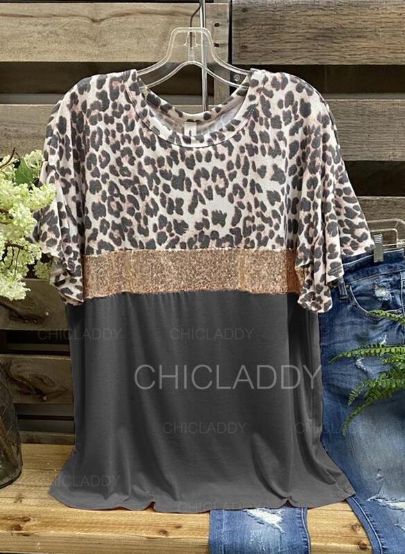 Leopard flitry Kulatý Výstřih Krátké rukávy Trička