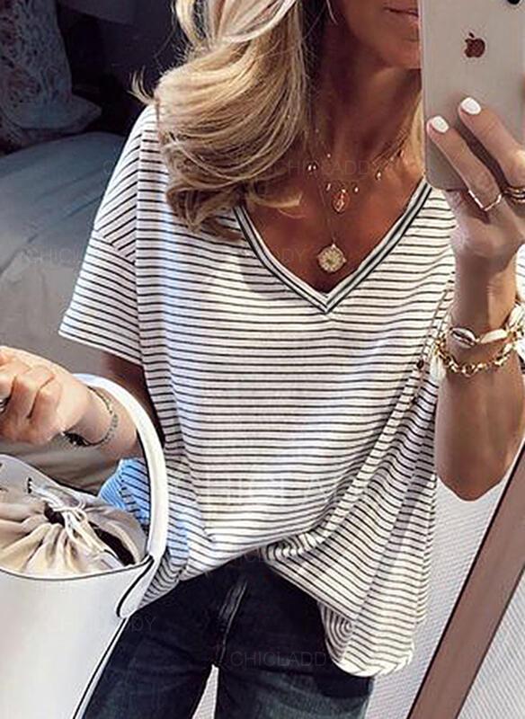 Csíkos V-nyak Rövidujjú Hétköznapokra robić na drutach Μπλουζάκια