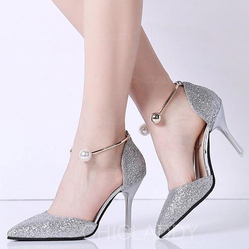 Mulheres PU Salto agulha Bombas com Pérola Lantejoulas sapatos