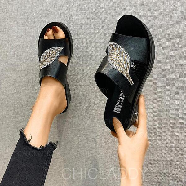Women's PU Flat Heel Sandals Flats Peep Toe Slippers shoes