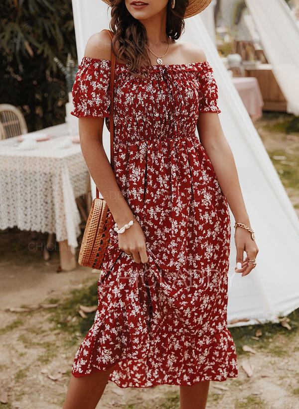 Print/Floral Short Sleeves A-line Skater Casual/Boho/Vacation Midi Dresses