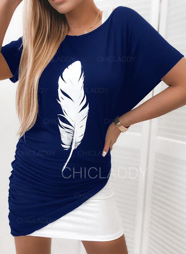 Nadrukowana Krótkie rękawy/Rękawy w kształcie skrzydeł nietoperza Bodycon Nad kolana Casual Sukienki