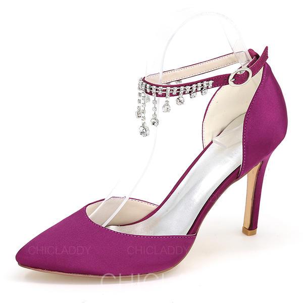 Donna raso di seta come Tacco a spillo Sandalo Stiletto Punta chiusa con Strass Catenina scarpe