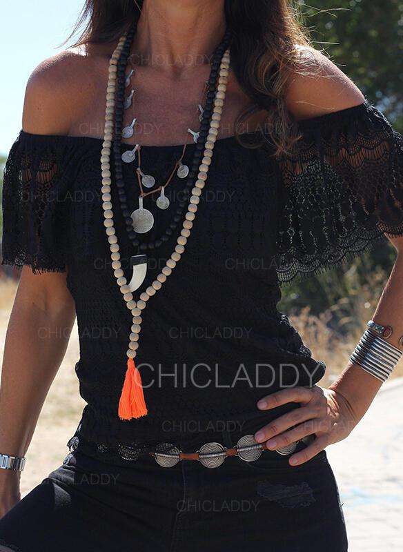 Pevný Krajka Odhalená ramena Krátké rukávy Lucerny rukáv Sexy Halenky
