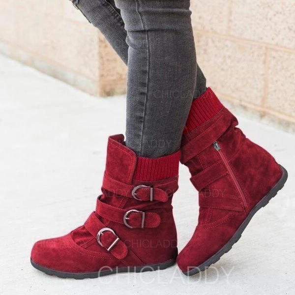 De mujer PU Tacón plano Botas Botas al tobillo Botas de nieve Botas de invierno con Hebilla zapatos
