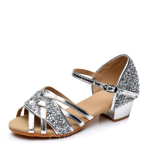 Mulheres Latino Saltos Couro Espumante Glitter Moderno