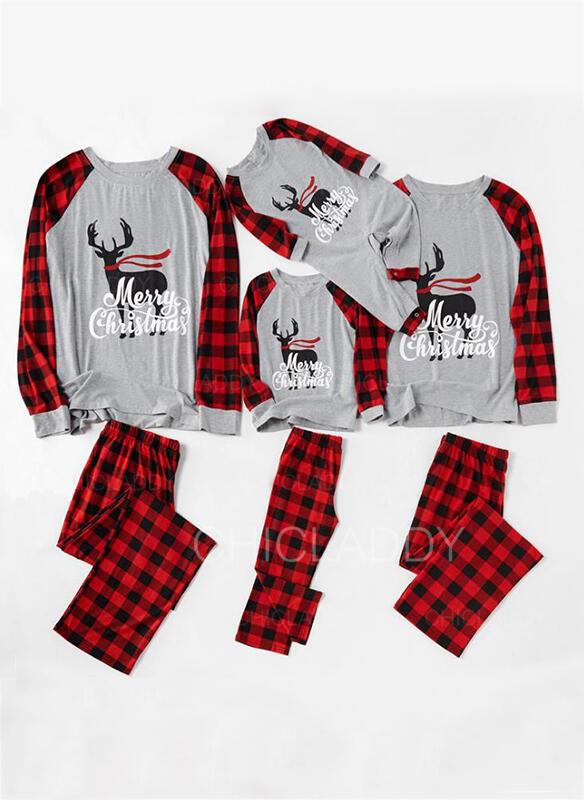 Soby Kostkovaný Písmeno Rodinné odpovídající Vánoční pyžama