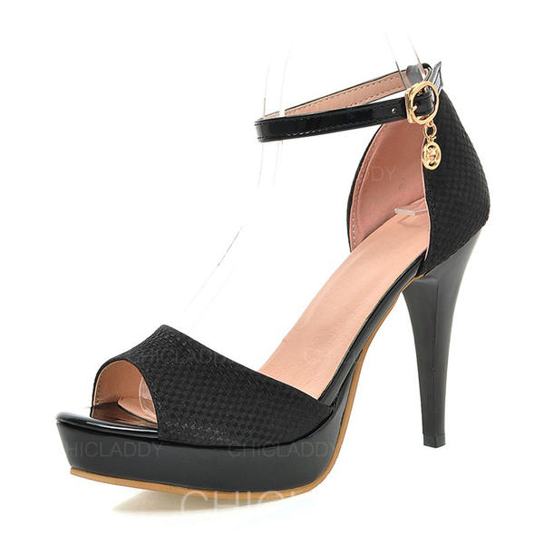 Mulheres Couro Salto agulha Sandálias Bombas Plataforma Peep toe com Fivela sapatos