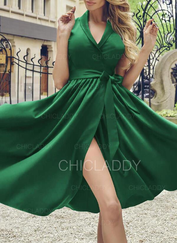 Solid Sleeveless A-line Knee Length Party/Elegant Wrap/Skater Dresses