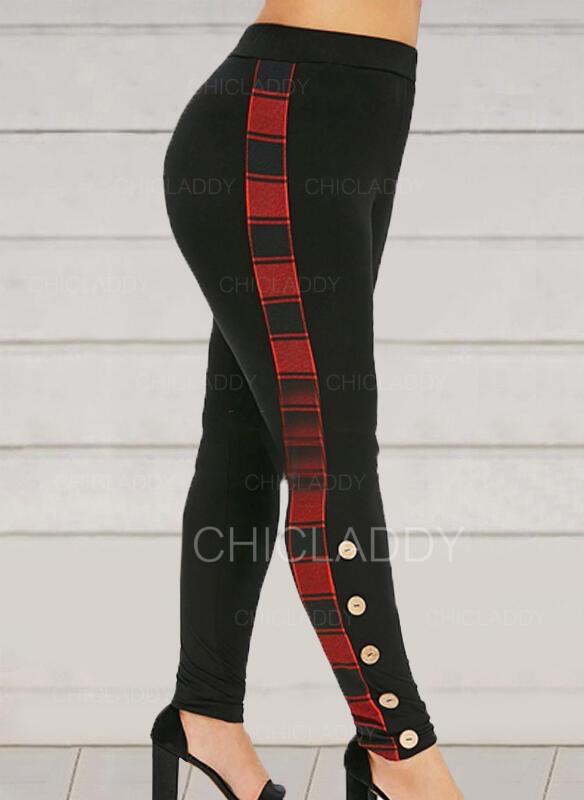 Kostkovaný Plus velikost Vánoce Neformální Sexy Jóga Kalhoty Legíny