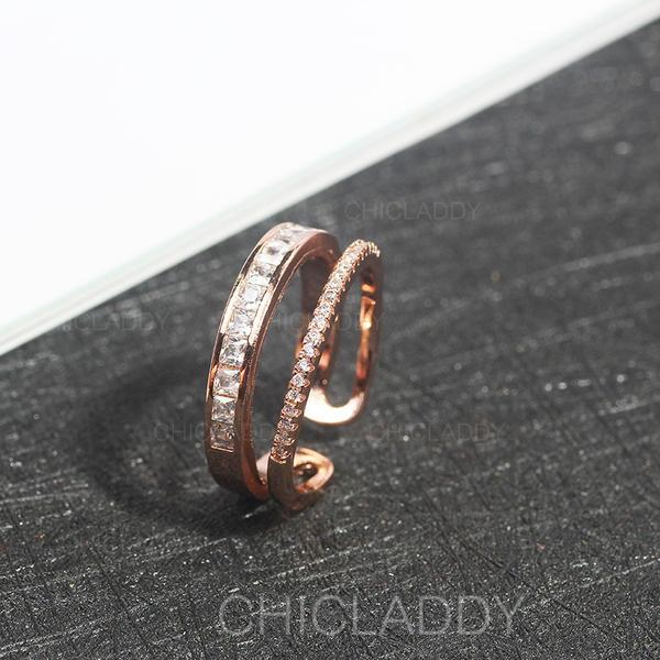 Bonito Liga Zircon com Zircon Senhoras Anéis (Vendido em uma única peça)